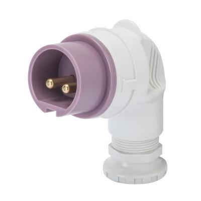 90° вилка  3P 32A 20-25V 50-60 Гц колір - фіолетовий нейтраль зправа Гвинтові клеми