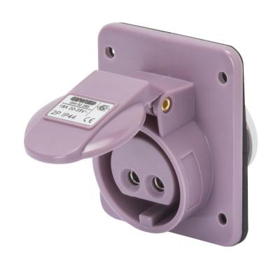 10° кутова утоплювана розетка   колір - фіолетовий нейтраль зправа Гвинтові клеми