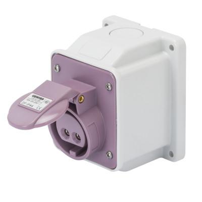 10° кутова накладна розетка   колір - фіолетовий нейтраль зправа Гвинтові клеми
