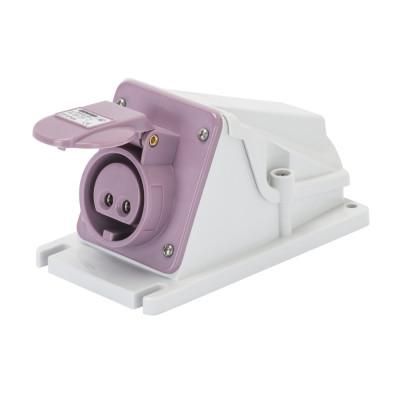 90° кутова накладна розетка   колір - фіолетовий нейтраль зправа Гвинтові клеми