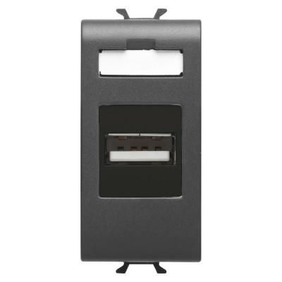 USB розетка 1 модуль чорний Серія Chorus
