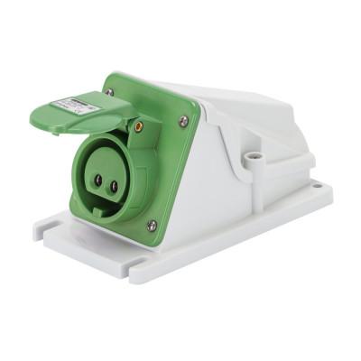90° кутова накладна розетка  2P 32A 20-25V & 40-50V 100-200 Гц колір - зелений  Гвинтові клеми
