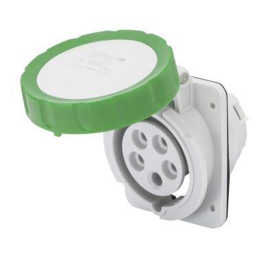 10° кутова утоплювана розетка HP   колір - зелений  Гвинтові клеми