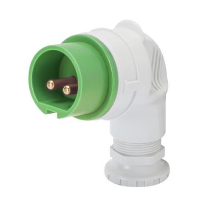 90° вилка  3P 32A 20-25V & 40-50V 100-200 Гц колір - зелений  Гвинтові клеми