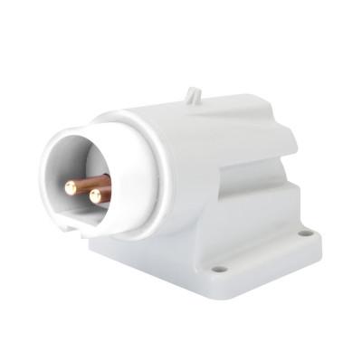 90° кутова накладна вилка  3P 16A 40-50V 50-60 Гц колір - Білий  Гвинтові клеми