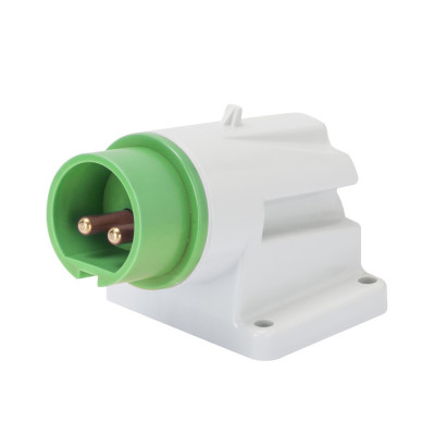 90° кутова накладна вилка  2P 16A 20-25V & 40-50V 401-500 Гц колір - зелений  Гвинтові клеми