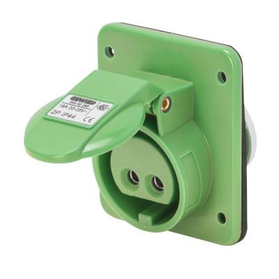 10° кутова утоплювана розетка  3P 16A 20-25V & 40-50V 100-200 Гц колір - зелений  Гвинтові клеми