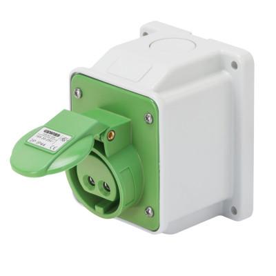10° кутова накладна розетка  3P 16A 20-25V & 40-50V 401-500 Гц колір - зелений  Гвинтові клеми