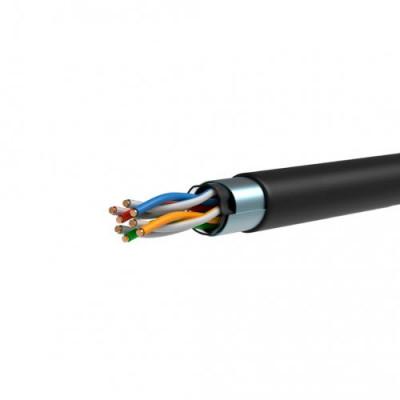 ITK Кабель зв`язку вита пара ШПД F/UTP, кат.5E 4х2х0,48мм solid, LDPE, 305м, IEK, чорний