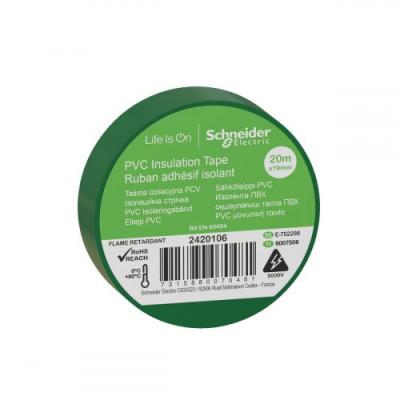 Ізоляційна стрічка ПВХ, 19mm x 20m, Schneider Electric 2420106, зелений