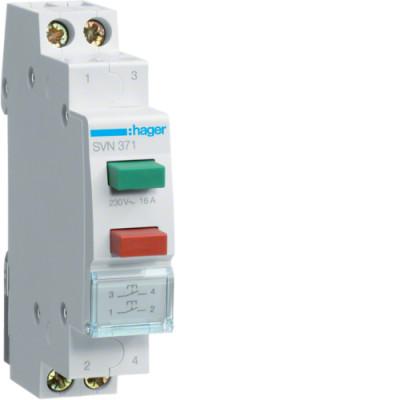 2 кнопки керування SVN371 16A, 250В АС, 2х1 н.о., 1 М (2 кнопки - 2 незалежні групи) без фіксації
