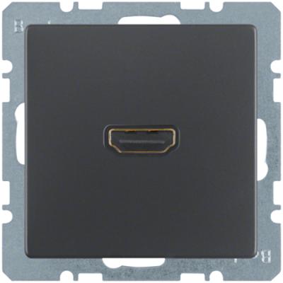 HDMI-розетка, підключення ззаду під кутом 90 град., антрацит, Q.1/Q.3 3315436086
