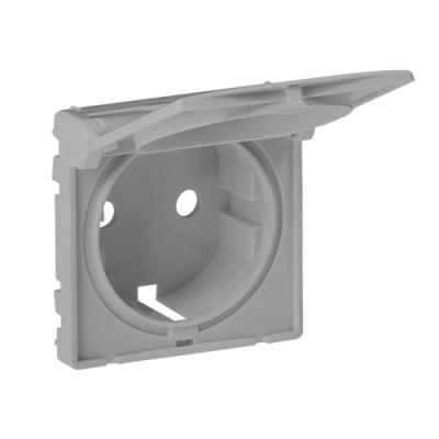 Valena LIFE Накладка розетки 2К+З з кришкою алюміній