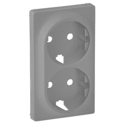 Valena LIFE Накладка розетки подвійної 2К+З алюміній