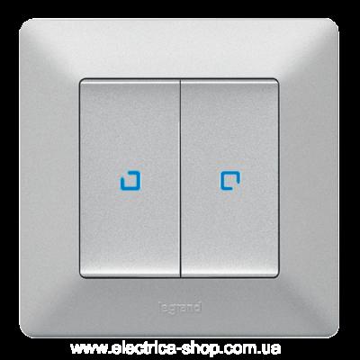 Valena LIFE Вимикач 10АХ 250В 2-клавішний з підсвічуванням, алюміній