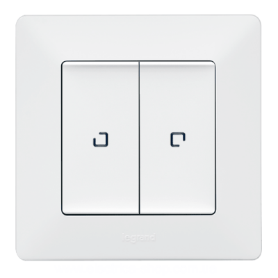 Valena LIFE Вимикач 10АХ 250В 2-клавішний з підсвічуванням Білий