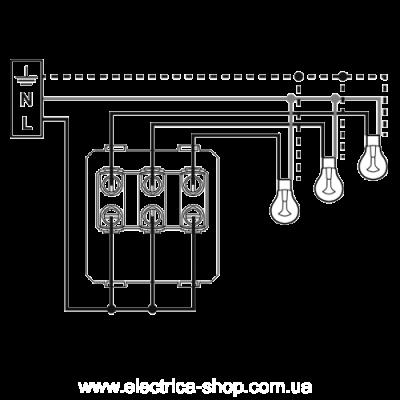 Valena LIFE Вимикач 10АХ 250В 3-клавішний, гвинтові клеми, слонова кістка