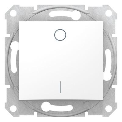 2-x полюсный одноклавишный выключатель SEDNA белый SDN0200121