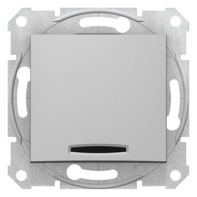 2-Х полюсний одноклавішний вимикач з індикацією SEDNA алюміній SDN0201160
