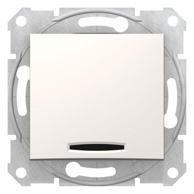 2-Х полюсний одноклавішний вимикач з індикацією SEDNA слонова кістка SDN0201123