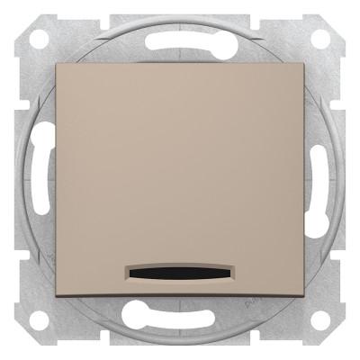 2-Х полюсний одноклавішний вимикач з індикацією SEDNA титан SDN0201168