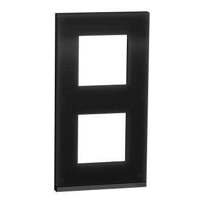 2 постовая рамка вертикальная Unica Pure чёрное стекло NU6004V86