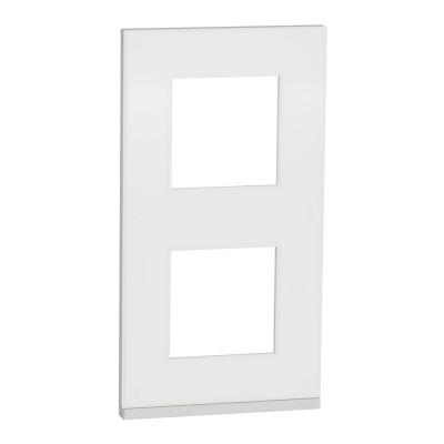2 постовая рамка вертикальная Unica Pure матовое стекло NU6004V89