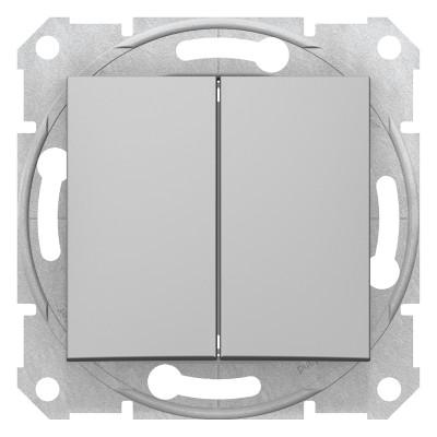 Двухклавишный выключатель SEDNA алюминий SDN0300160