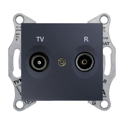 TV/R розетка прохідна SEDNA графіт SDN3301370