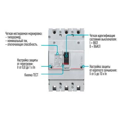 Автоматичний вимикач DRX250, 36кА, 3п 160 А Legrand 027232