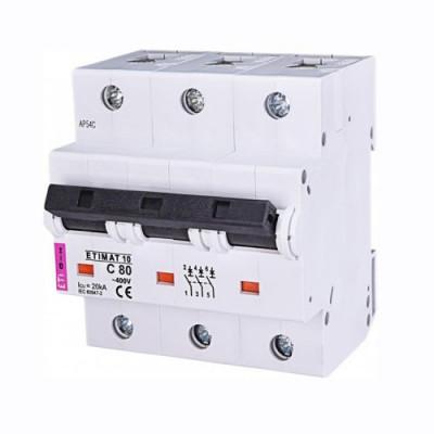 Автоматичний вимикач ETI ETIMAT 10 3p D 80А (15 kA)