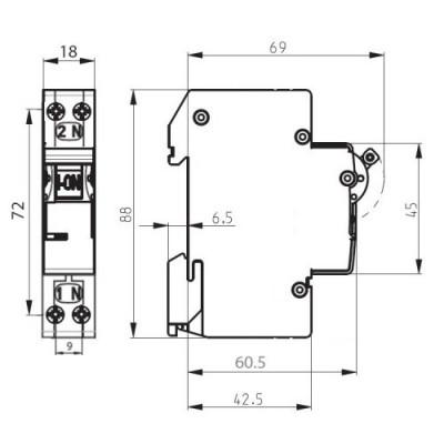 Автоматичний вимикач ETI ETIMAT 6 1p+N (1мод.) С 16А (6 kA)