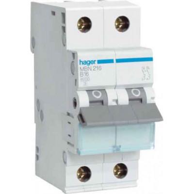 Автоматичний вимикач Hager MB206A 6А, 2п, B, 6 кА