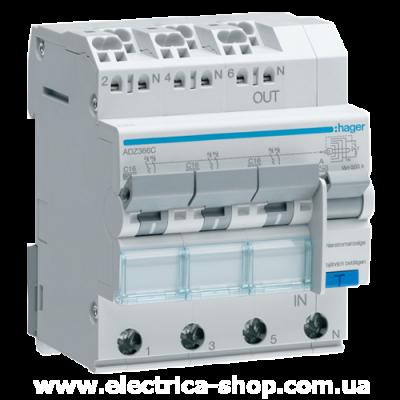 Дифференциальный автоматический выключатель 3-фазный (3P + N) 6кА С-16А 30мА, QuickConnect
